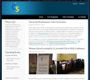 Screenshot of the homepage of the Catalyzing Computing and Cybersecurity in Community Colleges (C5) website