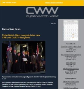 Screenshot of the top of the 2017 CyberWatch West email newsletter