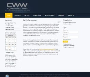 Screenshot of the homepage of the CyberWatch West website
