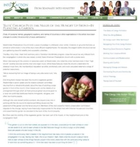 "Screenshot of the article ""'Elite' Church Puts the Needs of the Hungry Up Front—By Planting a Garden"" on the Clergy into Action website"