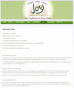 Web page from the Joy Pilates & Fitness website containing frequently asked questions (FAQs) for new clients