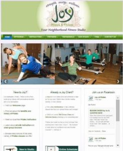 Screenshot of the Joy Fitness website homepage, taken in 2015
