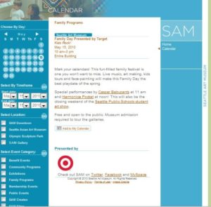 Screenshot of an event listing posted on the Seattle Art Museum's online calendar in 2010
