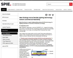 "Screenshot of the press release ""New findings move flexible lighting technology toward commercial feasibility"" on the SPIE website."