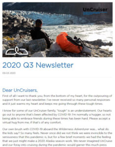 Screenshot of the web version of the UnCruise Adventures third quarter 2020 past guest newsletter, taken 9-17-2020