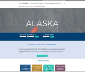 Screenshot of the homepage of the UnCruise Adventures website, UnCruise.com, taken 9-11-2020.
