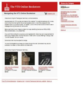 Screenshot of the Amazon aStore created to sell textbooks to VTS students